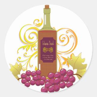 Wine & Grapes Classic Round Sticker
