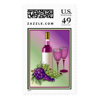 Wine & Grapes Toast Postage Stamp