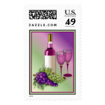 Wine & Grapes Toast Postage Stamps