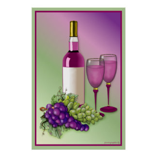 Wine & Grapes Toast Poster