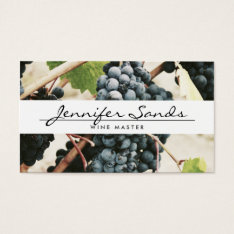 WINE GRAPES, WINERY, WINE MASTER Business Card at Zazzle