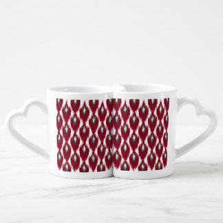 Wine Gray Abstract Tribal Ikat Diamond Pattern Coffee Mug Set