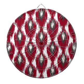 Wine Gray Abstract Tribal Ikat Diamond Pattern Dartboard