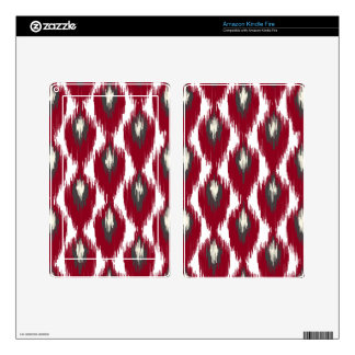 Wine Gray Abstract Tribal Ikat Diamond Pattern Decals For Kindle Fire