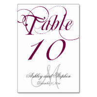 Wine Gray Monogram Wedding Table Number Card
