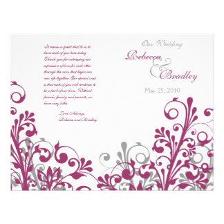 wine gray white abstract floral wedding program