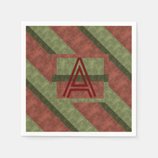 Wine Greens Textured Diagonal Stripes Monogram Paper Napkin