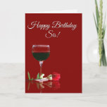 """Wine Happy Birthday to Sister Card<br><div class=""""desc"""">A fun wine themed card just for your sis! Say Cheers and Happy birthday and wish her all the important things in live,  such as love,  friendship good times and,  of course,  good wine!</div>"""