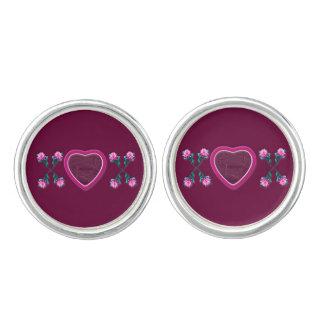 Wine Hearts & Roses X's & O's Photo Frame Cufflinks