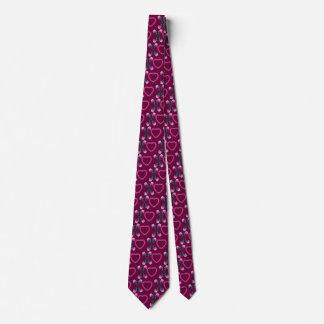 Wine Hearts & Roses X's & O's Tie