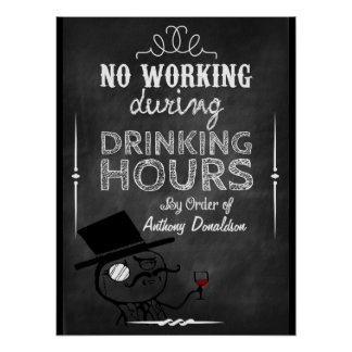Wine humour Personalized Chalkboard Poster