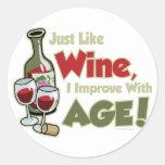Wine Improve With Age Classic Round Sticker