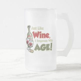 Wine Improve With Age Frosted Glass Beer Mug