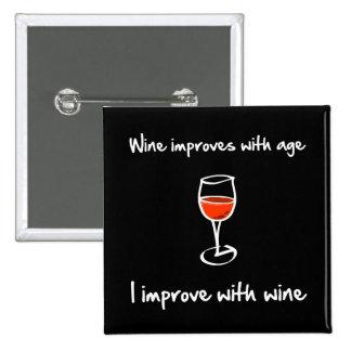 Wine Improves 2 Inch Square Button