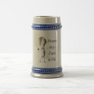 Wine improves with age, humorous art gifts beer stein