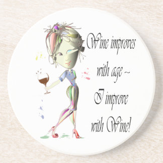 Wine improves with age humorous art gifts drink coaster