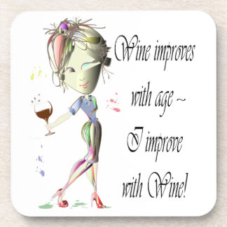 Wine improves with age humorous art gifts coaster