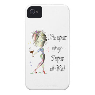 Wine improves with age, humorous art gifts iPhone 4 Case-Mate case