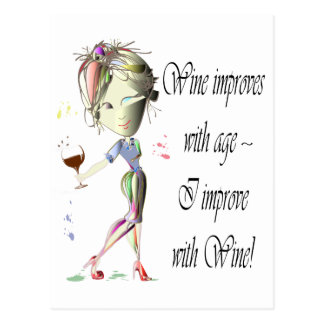 Wine improves with age, humorous art gifts postcard