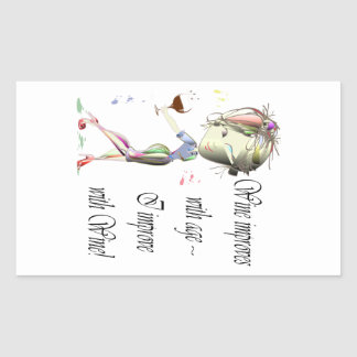 Wine improves with age, humorous art gifts rectangular sticker