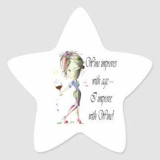 Wine improves with age, humorous art gifts star sticker