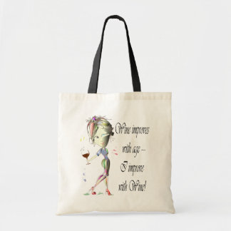 Wine improves with age, humorous art gifts tote bag