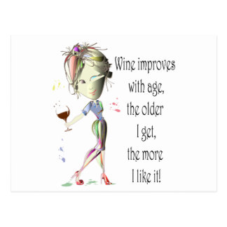 Wine Improves with Age, Humorous Wine Gifts Postcard