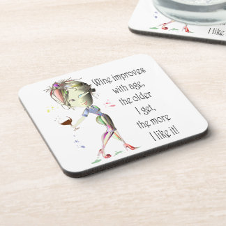 Wine Improves with Age Humorous Wine Saying Drink Coasters