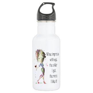 Wine Improves with Age Humorous Wine Saying 18oz Water Bottle