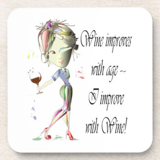 Wine improves with age humorous Women and Wine Beverage Coasters