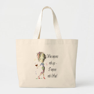 Wine improves with age, humorous Women and Wine Large Tote Bag
