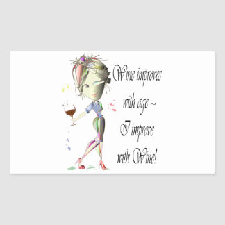 Wine improves with age, humorous Women and Wine Rectangular Sticker