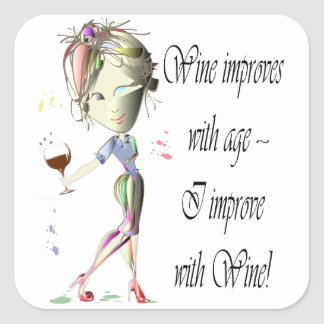 Wine improves with age, humorous Women and Wine Square Sticker