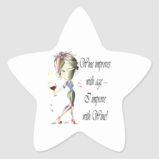 Wine improves with age, humorous Women and Wine Star Sticker