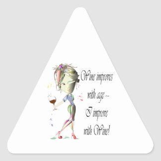 Wine improves with age, humorous Women and Wine Triangle Sticker