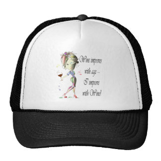 Wine improves with age, humorous Women and Wine Trucker Hat