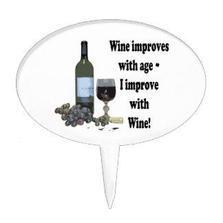 Wine improves with age, I improve with Wine! Cake Pick