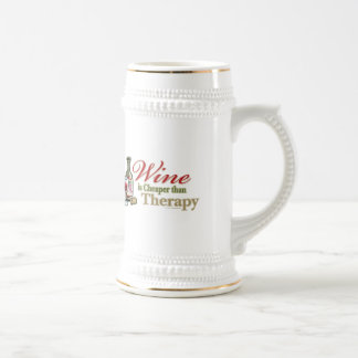 Wine Is Cheaper Than Therapy Beer Stein