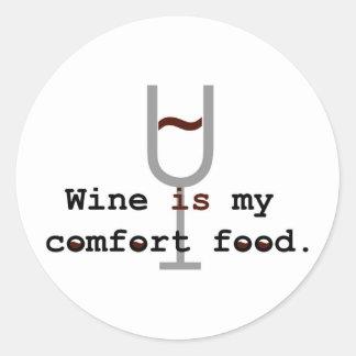 Wine is my comfort food classic round sticker