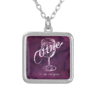 Wine is my religion! silver plated necklace