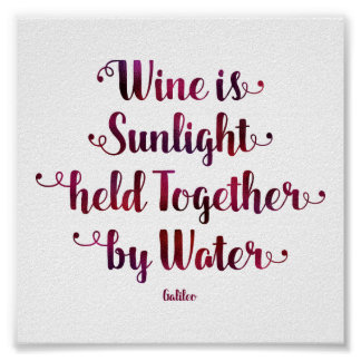 Wine is Sunlight and Water Quote Poster