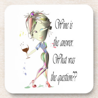 Wine is the answer what was the question beverage coaster