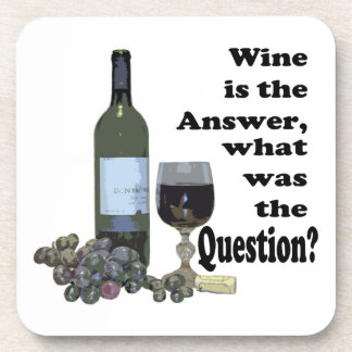 Wine is the answer what was the Question Gifts Beverage Coasters