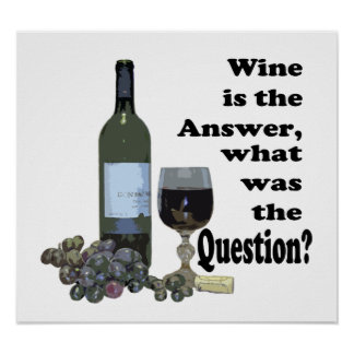Wine is the answer, what was the Question? Gifts Poster