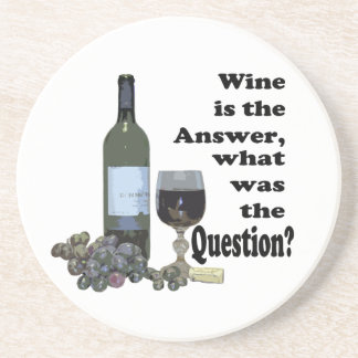 Wine is the answer what was the question Gits Drink Coaster