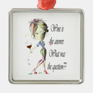Wine is the answer, what was the question? metal ornament
