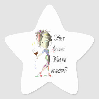Wine is the Answer - what was the question?? Star Sticker