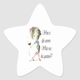 Wine is the answer, what was the question? star sticker