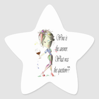 Wine is the question funny Wine saying gifts Star Sticker