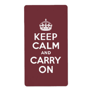 Wine Keep Calm and Carry On Custom Shipping Labels
